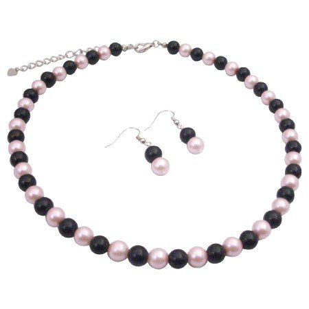 U134  Pearls Necklace Set Black & Pink Pearls Delicate Jewelry Set