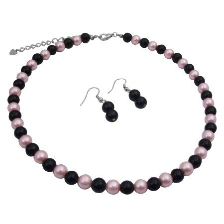 UNS017  Black Pearls Earrings w/ Pink & Black Pearls Beads Neckalce Jewelry Set