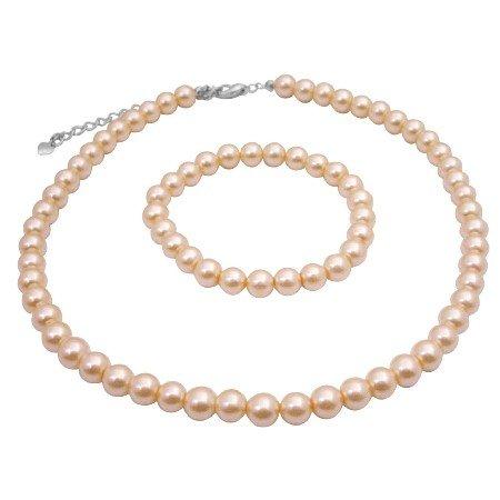 UNS014  Dainty Peach Necklace & Bracelet Synthetic High Quality Pearls