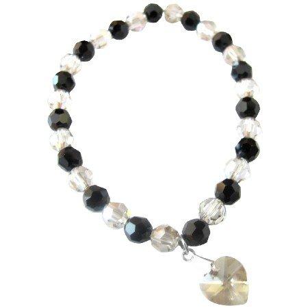 TB051  Stretchable Bracelet Valentine Gift Swarovski Shadow & Jet Crystals