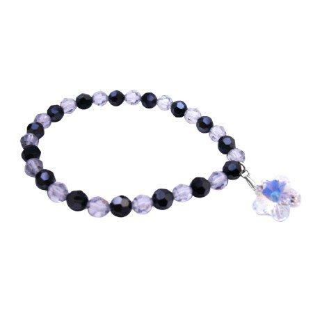 TB050  Swarovski Gift Bracelet Shadow Jet Crystal Dangling AB Crystals Flower