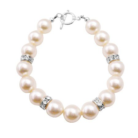 TB048  Big Pearls Bracelet Ivory Pearls Exclusively Gift Wedding Flower Girl