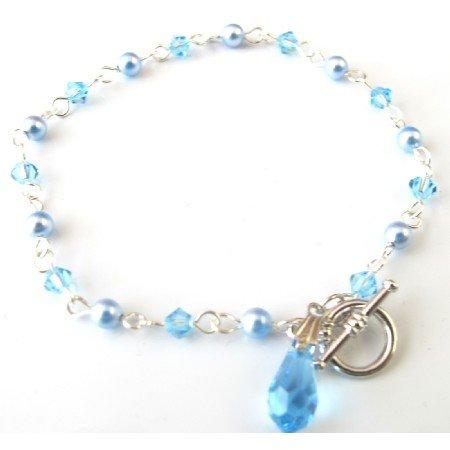 TB047  Blue Jewelry Swarovski Aquamarine Teardrop Charm Dangling Bracelet