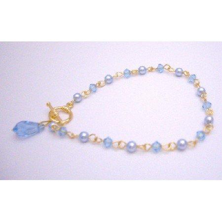 TB045  Aquamarine Charm Dangling Bracelet Gift Your Love Teardrop Bracelet