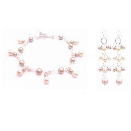 TB027  Ivory Champagne Pearls Dangling Prom Bridemaids Bracelet Earrings Set