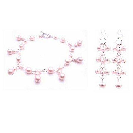 TB025  Rosaline Pearls Jewelry Pink Pearls Bracelet & Earrings Set
