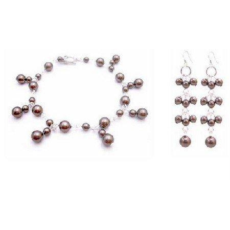 TB021  Bridemaids Wedding Jewelry Chocolate Brown Pearls Bracelet & Earrings