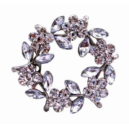 B006  Simulated Diamond Flower Brooch w/ Enamel White Leaves New Danity Pin Brooch