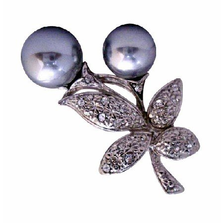 B043  Grey Pearls Fashion Brooch Pin w/ Cubic Zircon Bud Decorated Brooch