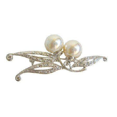 B040  Silver Brooch Pearls Pin Brooch w/ Sparkling Simulated Diamond CZ New/Dainty