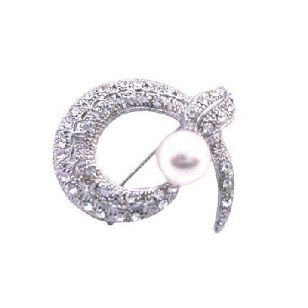 B009  Round Snake Head Cubic Zircon Brooch w/ Pearls Brooch