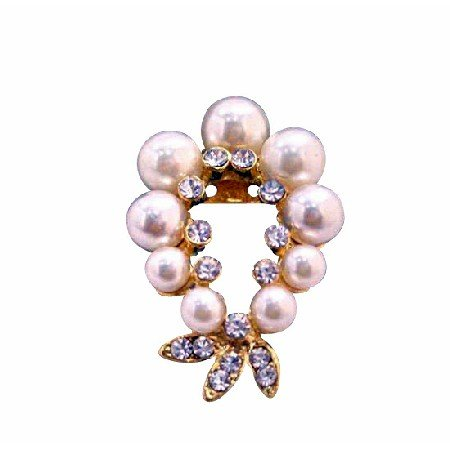 B219  Garland Cubic Zircon Brooch w/ Ivory Pearls Gold Brooch