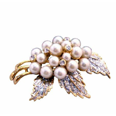 B220  Ivory Pearls Brooch Fancy Gold Brooch w/ Glitered Leafs w/ Zircon Wedding Brooch