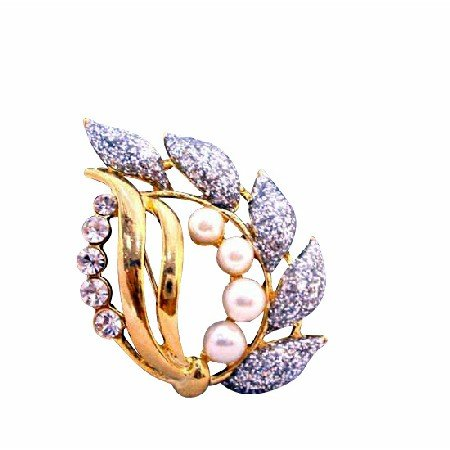 B216  Fancy Gold Brooch w/ Glitered Leaf Pearls And Cubic Zircon Stylish Brooch