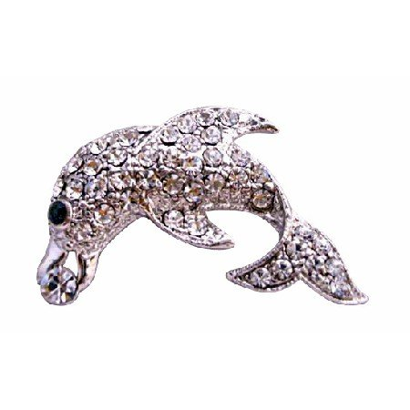 B195  Silver Dolphin Brooch Artisticall Decorated w/ Cubic Zircon