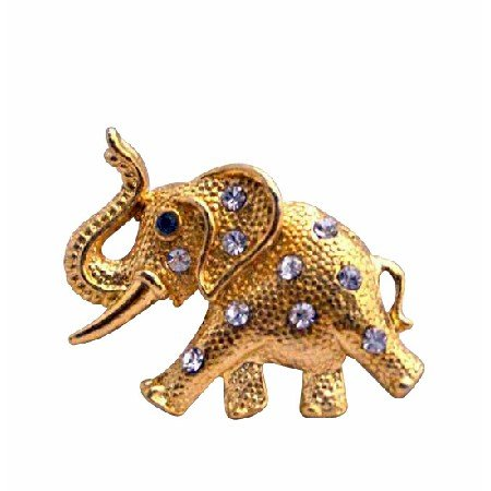 B200  Gold Elephant Brooch w/ Trunk Lift Elephant Brooch