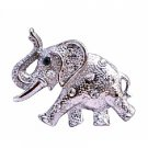 B199  Silver Elephant Jewelry Trunk Lift Elephant Brooch Silver Elephant Brooch