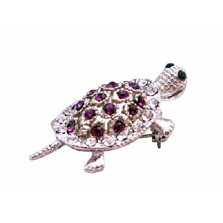 B039  Turtle Pin Brooch Amethyst Simulated Crystals Sparkling Pin Brooch New/Stunner