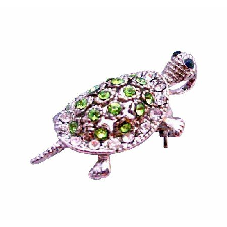 B355  Peridot Crystals Pendant Brooch Silver Casting Turtle Pendant & Brooch With Peridot