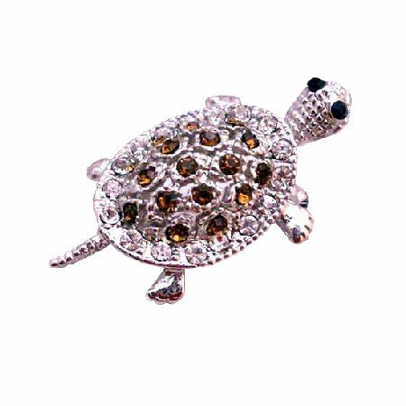 B354 Silver Casting Turttle Pendant & Brooch With Smoked Topaz Crystals Brooch Pendant