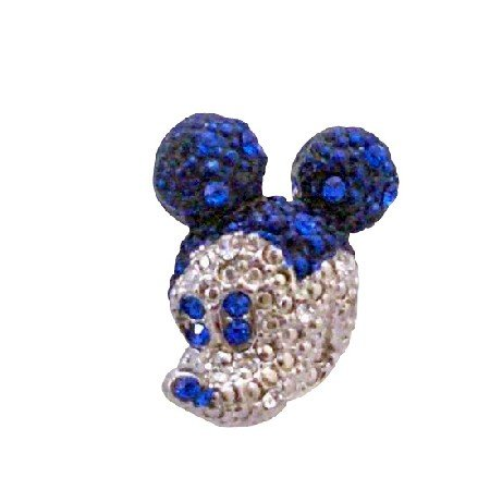 B361  Sapphire Crystals Brooch Mickey Mouse Brooch w/Sapphire Crystals