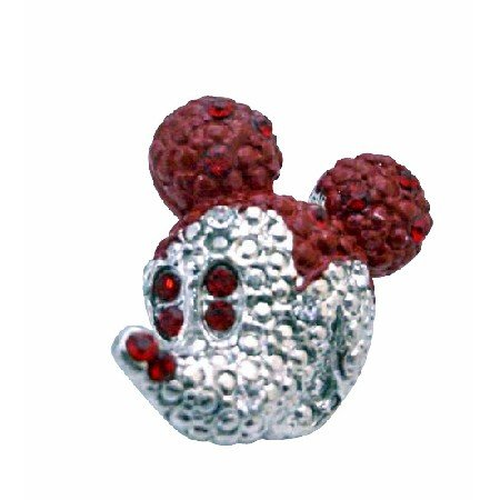 B360 Cute Mickey Mouse Brooch w/Siam Red Crystals Sparkling Silver Casting Mickey Mouse Brooch
