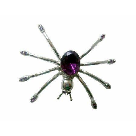 B095  Spider Brooch Austrian Amethyst Crystals Spider Brooch Pin