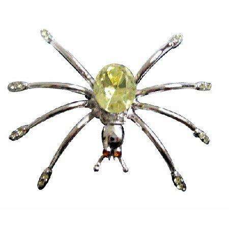 B183  Lemon Crystals Spider Brooch Pin