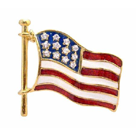 B375  Hand Painted Flag Brooch Strongly Made With Sparkling Diamante Stars ON Flag Brooch