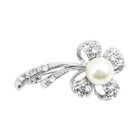 B393  Flower Pearls Brooch Stem Fully Encrusted w/ Cubic Zircon Brooch