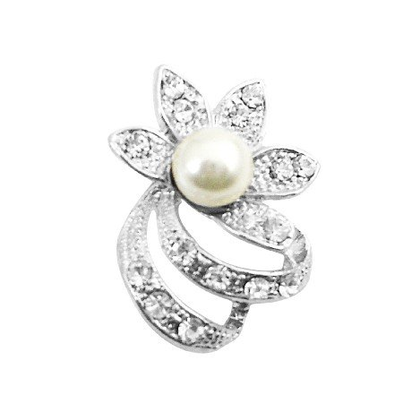B396  Very Artistic Flower With CZ and 8mm Pearls Brooch