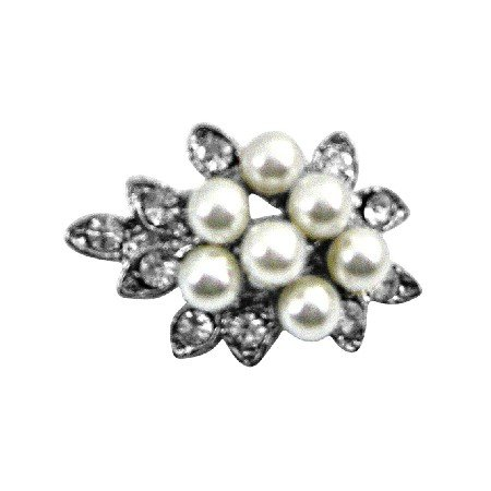 B394  Tiny Bouquet Pearls Dainty Affordable Cheap Brooch