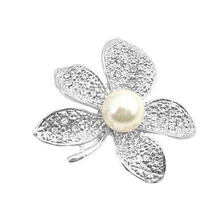 B392  Dashing Sparkling Flower Brooch Dress Brooch Under $10 Brooch
