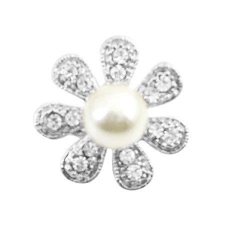 B391  Sparkling Brooch Fully Encrusted Cubic Zircon 7 Petals Flower Brooch