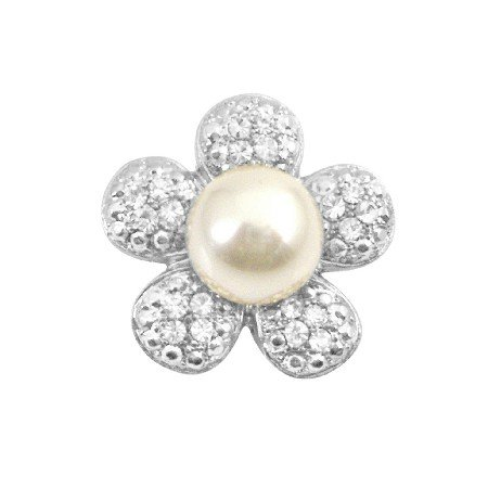 B390  Flower Round Brooch Sparkling Petals With Center Pearls Brooch