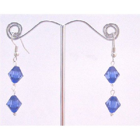 D161  Earrings Simulated Crystals Sapphire Crystals Bicone Earrings