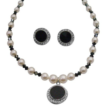 NSC275 Black&White Necklace Set Genuine Swarovski Cream White Pearls & AB Jet Crystals