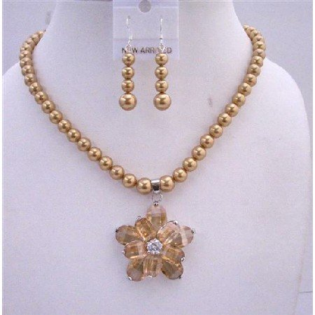 NSC238  Golden Tone Necklace Set Genuine Golden Pearls & Topaz Crystals w/ Flower Pendant