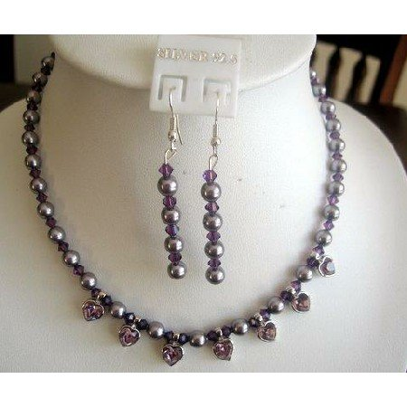 NSC149  Genuine Swarovski Purple Pearls & Amethyst Crystals w/ heart Pendants Necklace Set