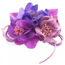 B570  Blossom Fascinator Hair Clip And Brooch Flower W/ Pollen Purplish Lavender Color