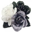 B536  Satin Flower Creation Brooch Black White Grey Gorgeous Dress Brooch