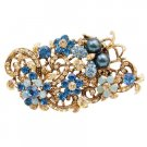 B561  Exquisite Marvelous Brooch Indicolite Jonquil Crystals Bouquet Brooch