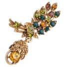 B565  Antique Gold Leaf Brooch With Cute Dangling Multicolor Crystals Brooch