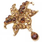 B564  Smoked Topaz Crystals With Teardop Dangling Exclusive Style Brooch