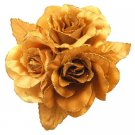 B538  Looking For Dress Brooch Golden Satin Flower Brooch Hair Bun