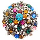 B546  Antique Round Brooch With Multicolor Round Black and Silver Round Antique Brooch Flower
