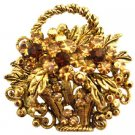 B547 Antique Gold Burnished Basket w/ Smoked Topaz Crystals & Colorado Crystals Jacket Brooch