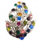 B543  Leaf Bouquet Brooch Alloy Metal With Spring MultiColor Crystals Brooch