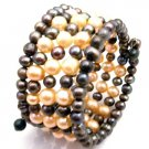 TB084  Peach And Black Freshwater Pearls Bridemaids Jewelry Five Stranded Bangle Bracelet