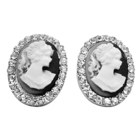 ERC663  Great Value Antique Cameo Earrings Fully Embedded W/ Diamante
